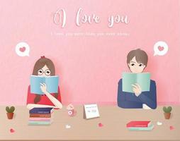 Par läser böcker tillsammans vektor