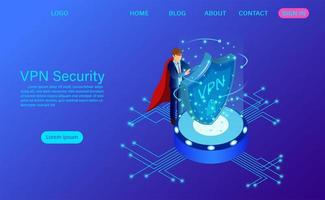 Virtuell privat nätverk säkerhetslandningssida vektor