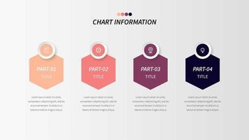 Vier-Stufen-Logik Infografik mit Sechsecken und Geschäfts-Ikonen vektor