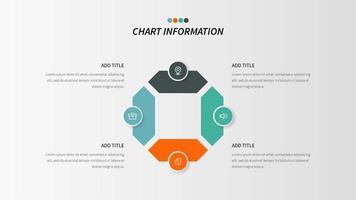 Vier-Schritt-Schleife Infografik mit Geschäfts-Ikonen vektor
