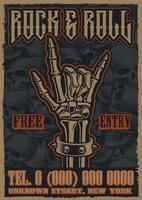 Färgtappningaffisch på temat rock and roll vektor