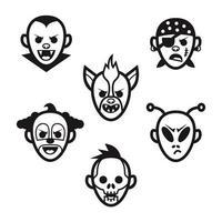 Uppsättning ikoner av monsterhuvuden