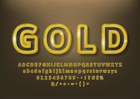 Gold umreißt Alphabetbuchstaben