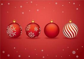 Röda julbollar med snöflingor till jul vektor
