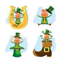 uppsättning St. Patrick's leprechauns med bagage och hästsko