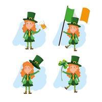 uppsättning St. Patrick's Day kvinna leprechaun med öl och klöver