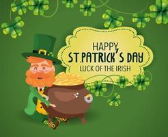 St. Patrick's Day Kobold mit Kessel und Goldmünzen vektor