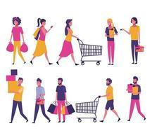 Uppsättning av människor som shoppar