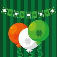 St Patrick Day med ballonger helium och kransar hängande