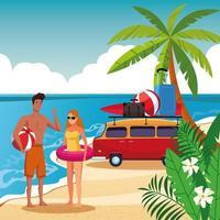 Sommarpar i strandtecknad film