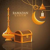 Ramadan Kareem mit abnehmendem Mond und islamischer Kunst vektor