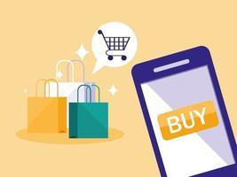 online einkaufen mit smartphone und taschen vektor