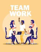 Geschäftsleute Teamarbeit am Arbeitsplatz vektor