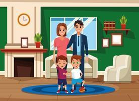 Familjföräldrar och barnkarikarteckningar vektor