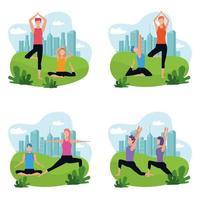 uppsättning par som gör yoga