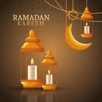 Ramadan Kareem mit abnehmendem Mond und islamischer Kunst