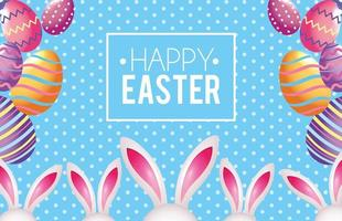 Glückliches Ostern-Emblem mit Ostereidekoration und -kaninchen vektor