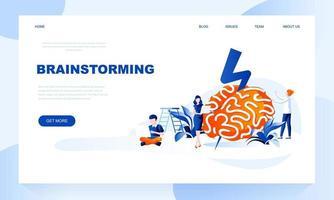 Brainstorming-Vektor-Landingpage-Vorlage mit Header
