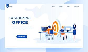 Coworking office platt målsidamall med rubrik vektor