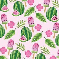 Wassermeloneneislutscher und Blatthintergrund vektor