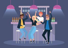 kvinnor och män i evenemanget med öl och champagne