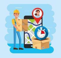 leveransman med lådor och smartphone med kartplats och callcenter-tjänst
