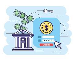 Bank mit digitaler Transaktion und Sicherheitspasswort vektor
