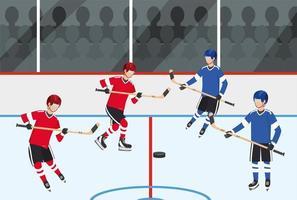 Hockey-Spieler-Team-Wettbewerb mit Ausrüstung vektor