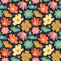 Blumenblüte großes nahtloses Muster vektor