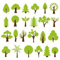 Platt skog träd ikoner vektor