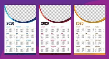 Eine Seite Kalender 2020 Vorlage vektor