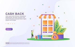 Cash Back-konceptdesign, människor som får kontanta belöningar och gåva från online shopping