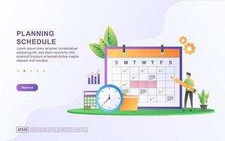 Konzept des Stundenplans oder Stundenplans, Erstellung eines persönlichen Studienplans vektor