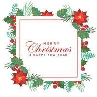 Jul gratulationskort med blommagarnering vektor