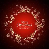 Röd bakgrund för hälsning för glad jul med guld snöflingor
