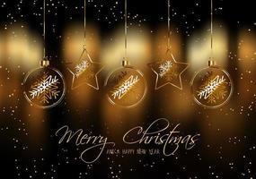 Julbakgrund med hängande struntsaker för guld