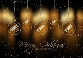 Weihnachtshintergrund mit Goldhängendem Flitter vektor