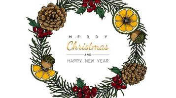 Blumen- und Blattkranzzeichnung der frohen Weihnachten und des neuen Jahres vektor