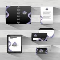 Set stationäre Vorlage mit Office-Dokumenten vektor