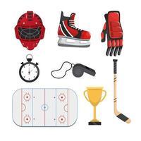 Setze professionelles Equipment um Hockey zu spielen vektor