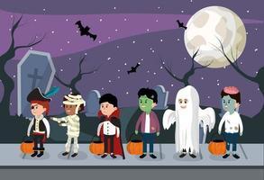Kinder und Halloween-Nacht vektor