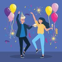 Mann und Frau tanzen mit Konfetti Dekoration