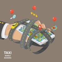 Mobilt taxi som bokar platt isometriskt koncept vektor