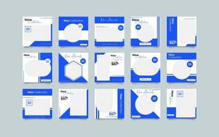 Samling av sociala medier postmall vektor