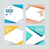 Försäljning sociala medier post malluppsättning vektor