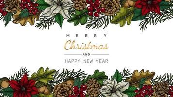 Hintergrundblumen- und -blattrahmen der frohen Weihnachten und des neuen Jahres vektor