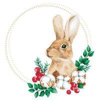 ram med akvarell kanin vektor