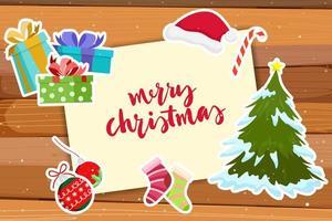 Jul gratulationskort med dekoration klistermärken vektor