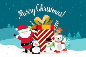 Jul gratulationskort med jultomten och stor gåva vektor