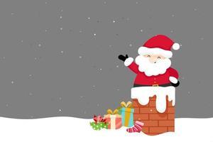 Julhälsningkort med jultomten på skorstenen vektor